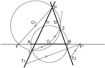 Hiperbola 09 tangentes desde un punto exterior por circunferencia principal