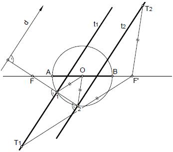 Hiperbola 11 rectas tangentes paralelas a una direccion dada por circunferecnia principal